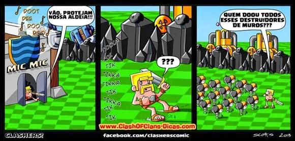 Destruidor de muro castelo do clan - clash humor
