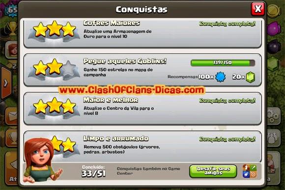 Completar conquistas clash of clans dicas