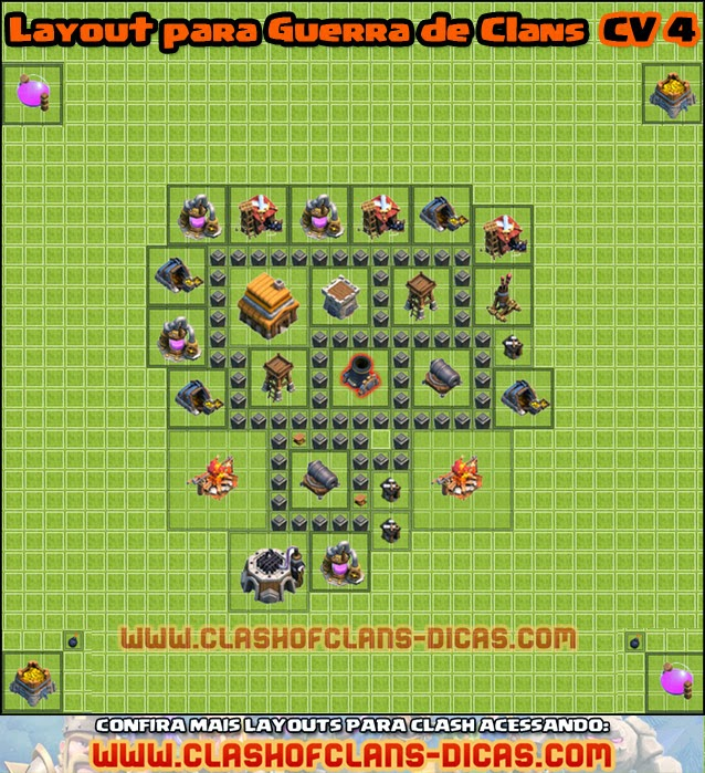 layouts guerra de clans cv 4 - Layout Cv 4 Clash Of Clans