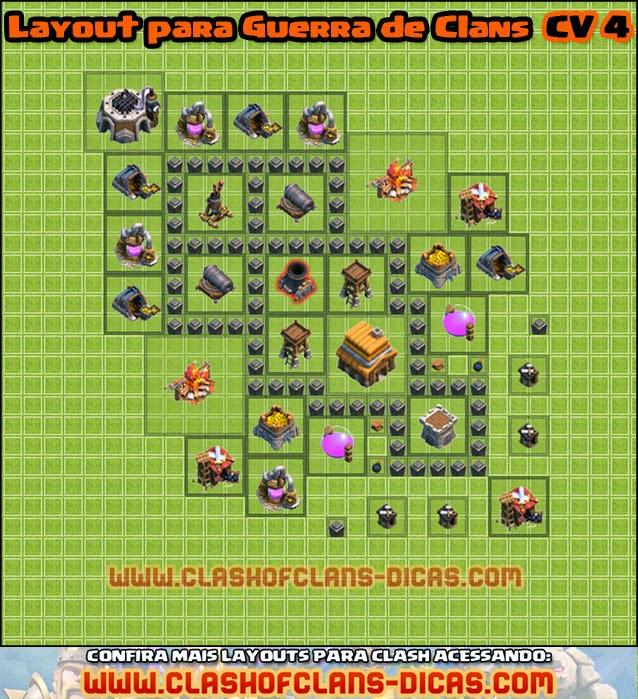 layouts clan wars centro de vila 4 - Layout Cv 4 Guerra