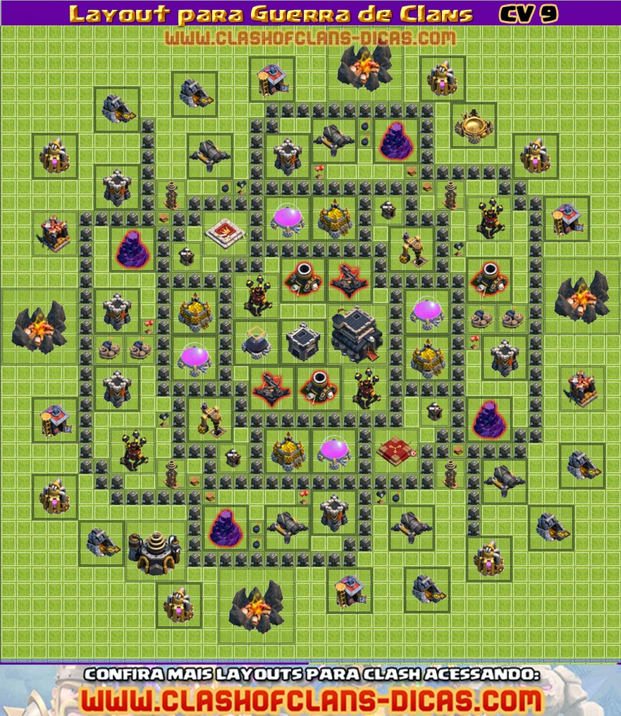 Layouts CV9 para a Guerra de Clans - Clash of Clans Dicas