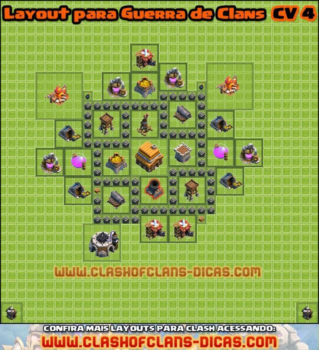 dicas de layouts para guerra clash cv 4 - Layout Cv 4 Guerra