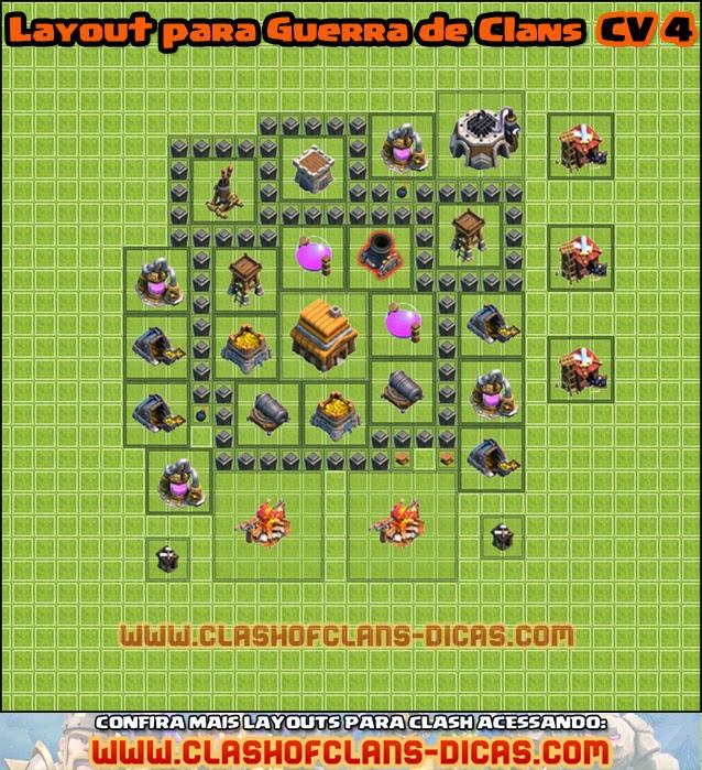 guerra de clans layout clash of clans cv4 - Layout Cv 4 Guerra