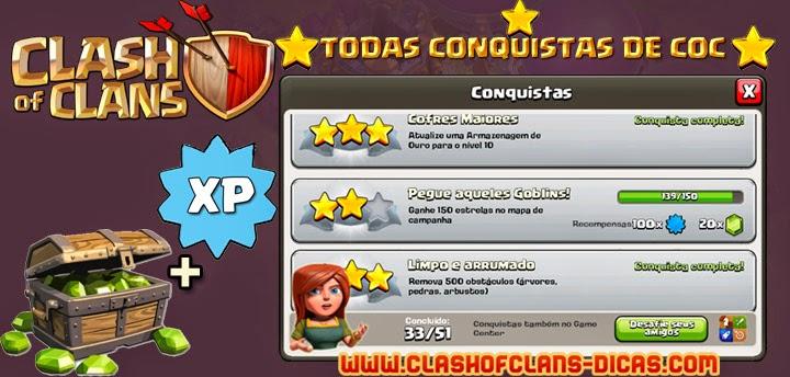 Todas Conquistas de Clash of Clans - Quanto de XP no total?