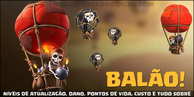 Níveis de atualização, dano e pontos de vida do Balão