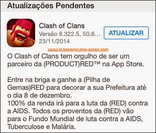 Atualização Clash of Clans parceiro e (PRODUCT)RED