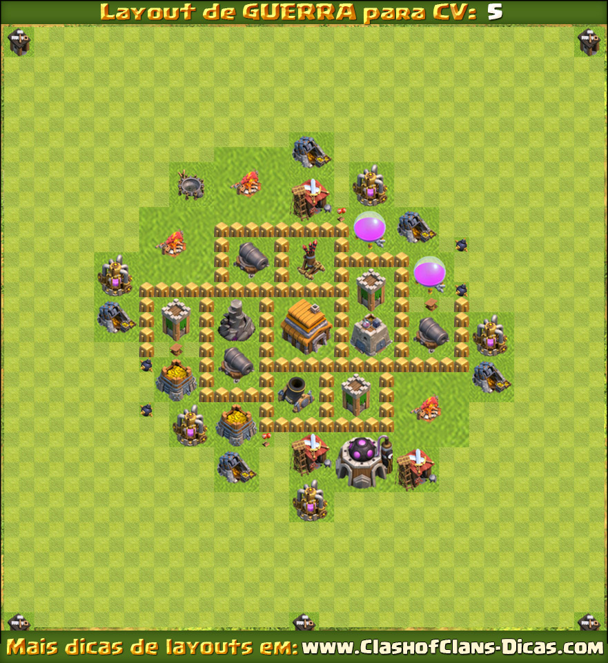 Town Hall 5 Clan War Clash of Clans - TH5 Layout war