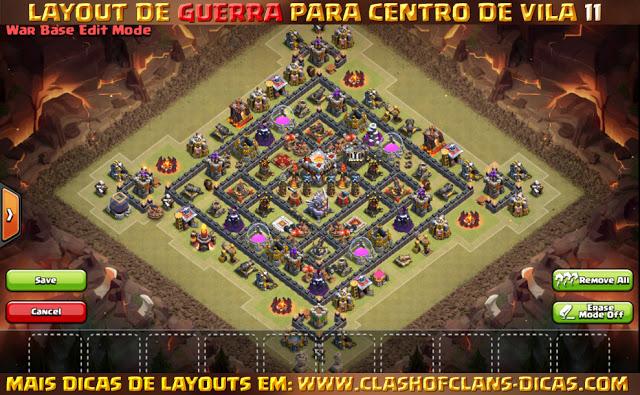 Melhores layouts de Centro de Vila 11 em Guerra - Town Hall 11 war layout