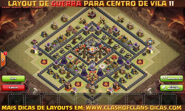 Layouts Centro de Vila 11 em Guerra - Town Hall 11 war layout