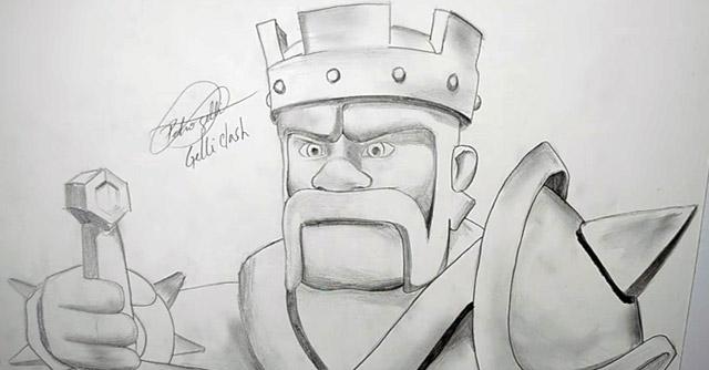 desenhando o rei bárbaro speedart por gelliclash clash of clans