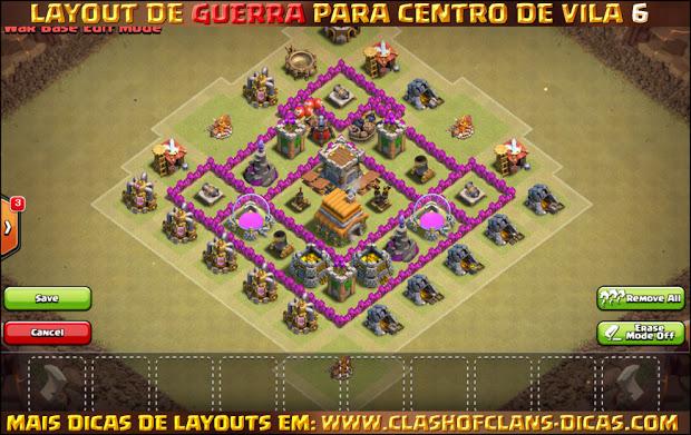 Layout de Centro de Vila 6 para Guerra - Town Hall 6 War Layout