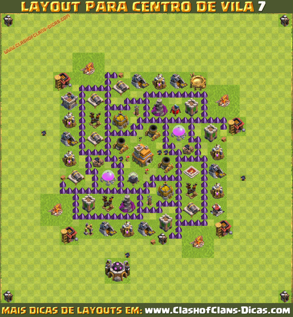 Dicas do melhor layout para Centro de Vila 7 - TH7 Base 2016