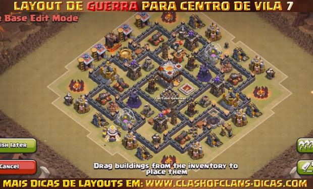 Dicas de Layouts Clash of Clans - TH7 War Base