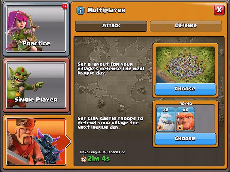 Seleção de layouts Liga Lendária Clash of Clans