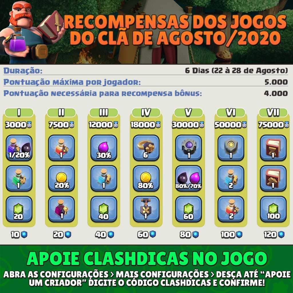 Lista de Recompensas dos Jogos do Clã de Agosto/2020