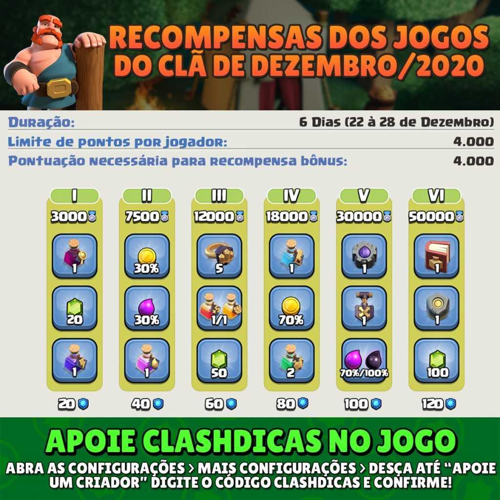 Recompensas dos Jogos do Clã de Dezembro/2020