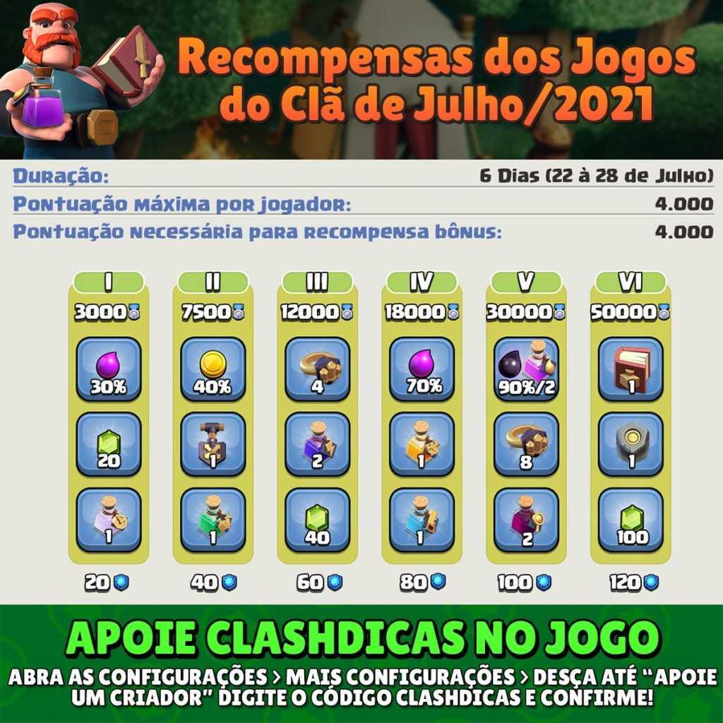 Recompensas dos Jogos do Clã de Julho/2021